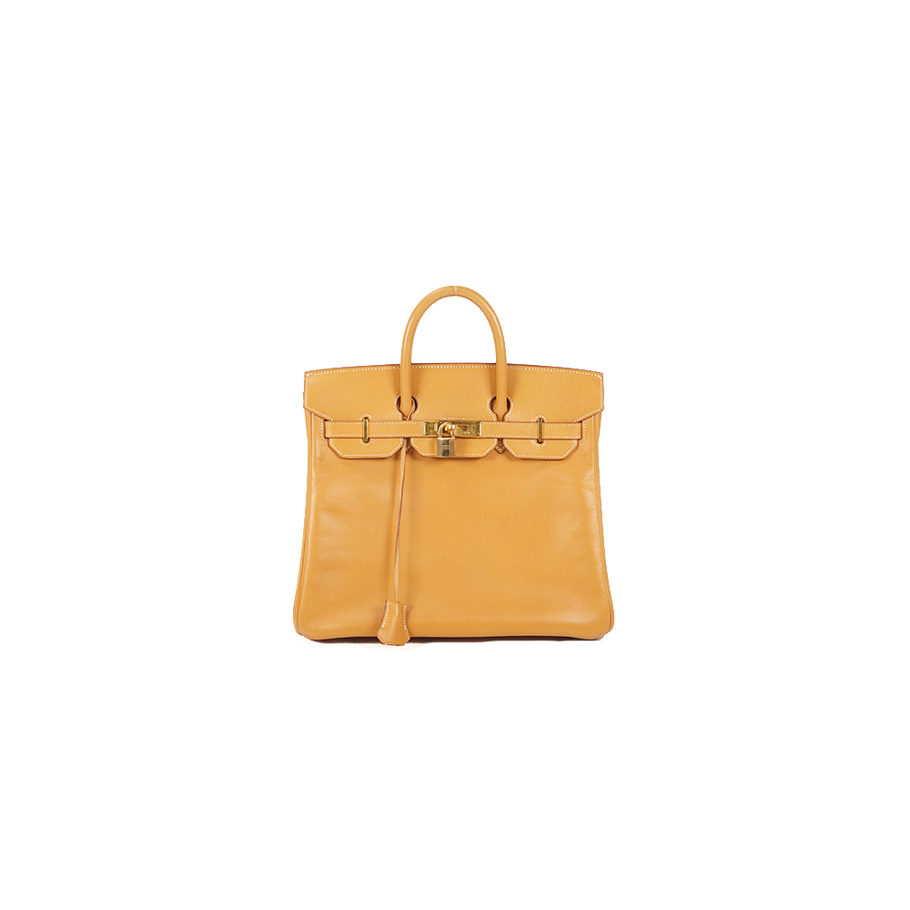 Auth Hermes Haute A Courroies 32 □G Stamp Mark  Vache Leather Natural