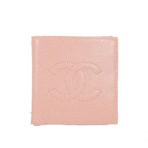 シャネル 二つ折り財布 キャビアスキン ピンク