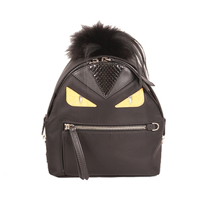 Auth Fendi  Monster Rucksack Women's Nylon Backpack Black