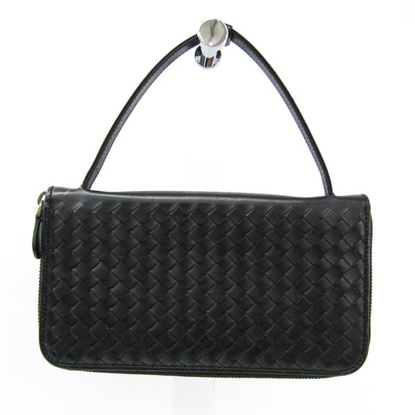 Bottega Veneta Intrecciato Multi Case / Travel Case 169730 Unisex  Calfskin Long Wallet (bi-fold) Black