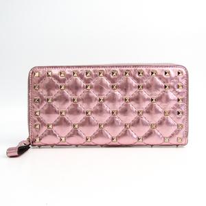バレンチノ(Valentino) ロックスタッズ レディース  コーティングレザー 長財布(二つ折り) メタリックピンク
