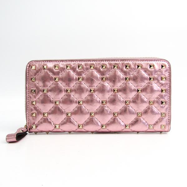 Valentino Lock Studs Women's  Coated Leather Long Wallet (bi-fold) Metallic Pink