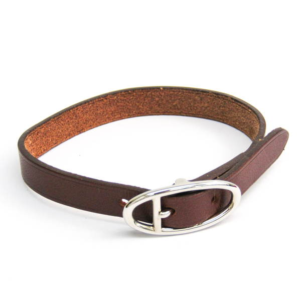 Hermes Hapi II Barenia Leather Bracelet Black,Silver