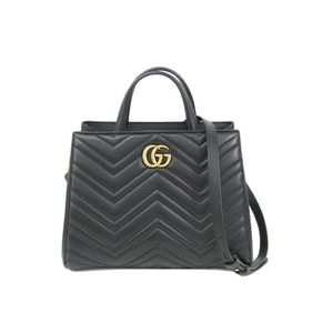 Gucci 448054 Quilting Top Handle Bag Women's Handbag Black