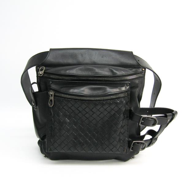 Bottega Veneta Intrecciato 121604 Unisex Leather Fanny Pack,Shoulder Bag Black
