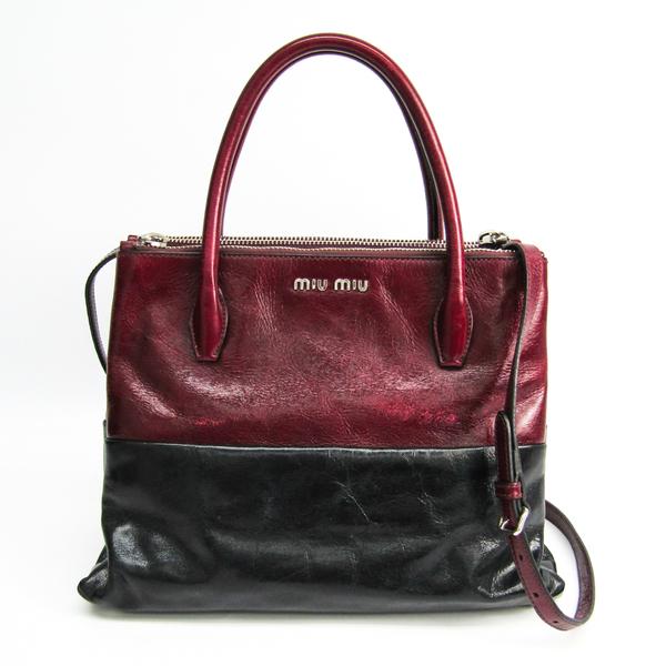 Miu Miu RNB941 Women's Leather Handbag Black,Bordeaux