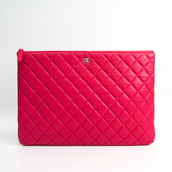 Chanel Flower A82045 Unisex Leather Clutch Bag Pink