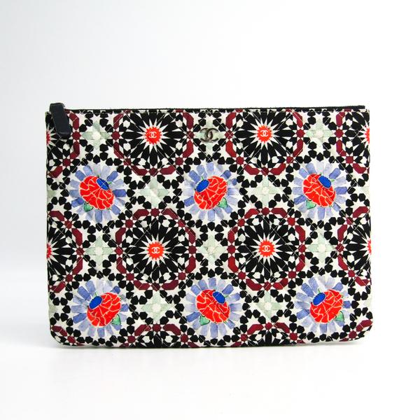 Chanel Flower A82074 Canvas Clutch Bag Multi-color