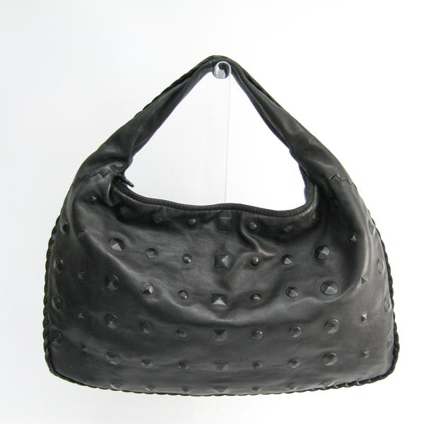 Bottega Veneta Hobo M 115654 Leather Shoulder Bag Black