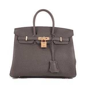 Hermes Handbag  Birkin Dstamp Women's Togo Leather Handbag Black