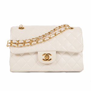 Chanel Matelasse W Flap W Chain Women's Leather Shoulder Bag White