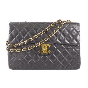 Chanel Big Matelasse W Chain Women's Leather Shoulder Bag Black