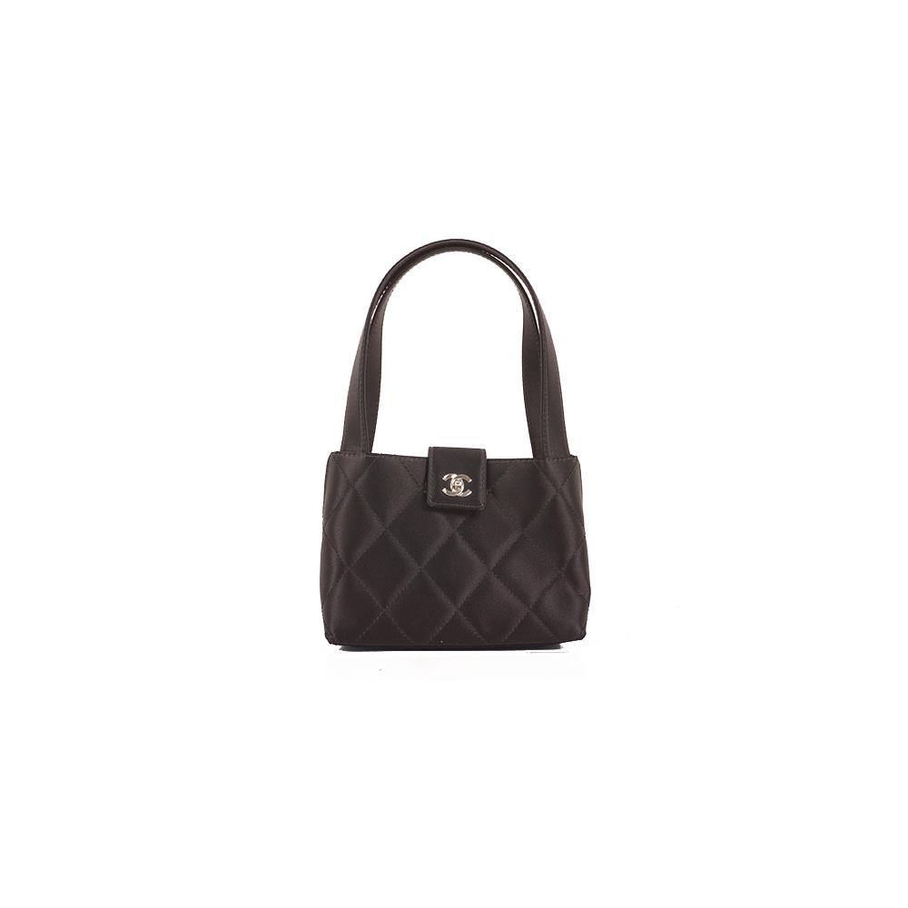 Auth Chanel Matelasse Handbag Women's Satin Handbag Black