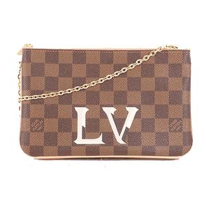 Auth Louis Vuitton Damier Pochette Pochette double zip N60254