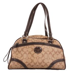 Auth Coach Signature Handbag F18918 Beige