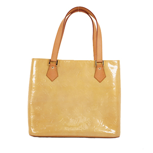 Auth Louis Vuitton Handbag Monogram Vernis Houston M91004 Beige