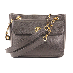 Auth Chanel Chain Shoulder Bag Caviar Leather Black