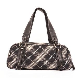 Auth Burberry Blue Label Tote Bag Women's Knit Shoulder Bag Black