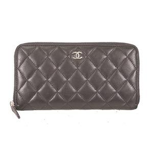 Auth Chanel Long Wallet (bi-fold) Matelasse Lambskin Black