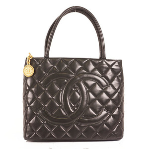 Chanel Medalion Tote Women's Lambskin Handbag Black