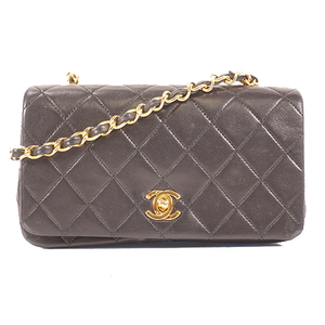 Auth Chanel Matelasse Chain Shoulder Bag Lambskin Black