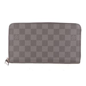 Auth Louis Vuitton Long Wallet (bi-fold) Damier Graphite Zippy Organizer N63077