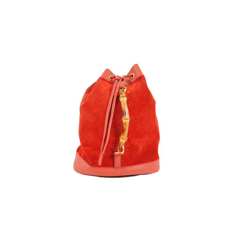 Auth Gucci Bamboo 011.2855.0043.0 Suede Backpack Red