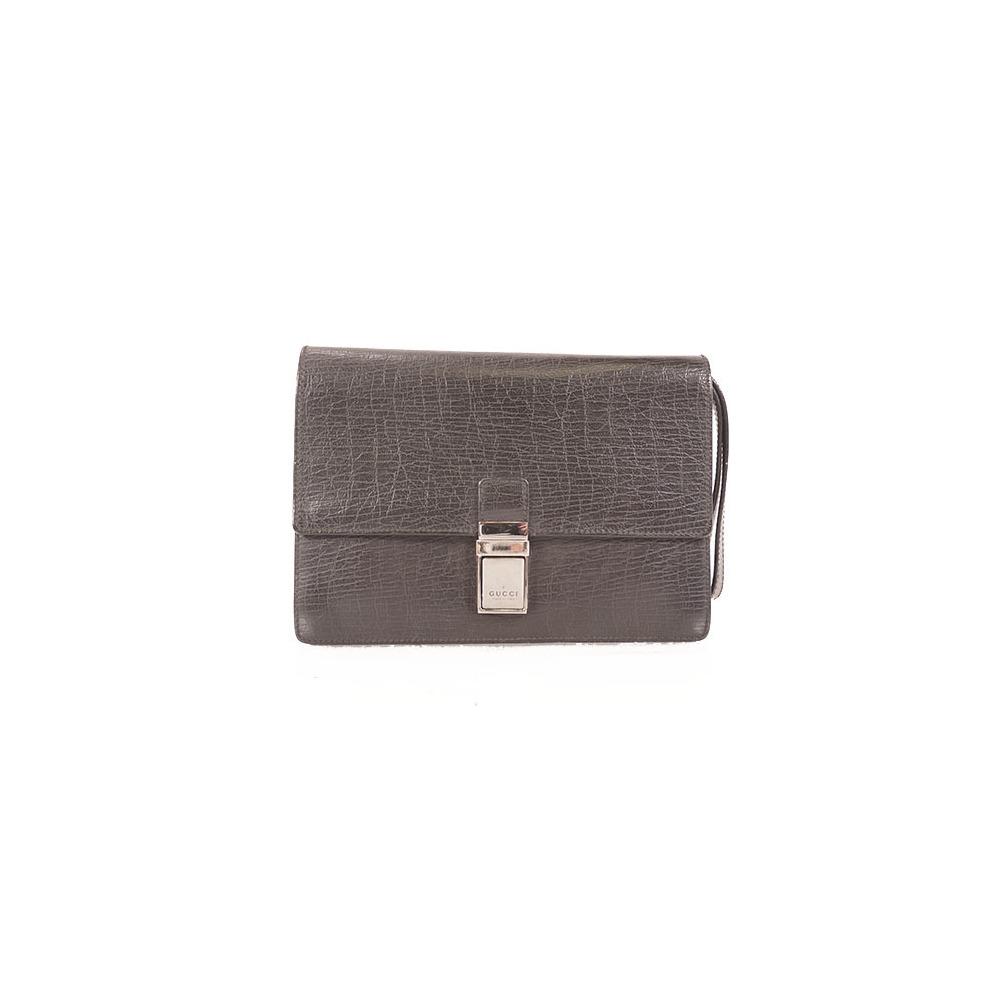 Auth Gucci  Clutch Bag Leather  114686 Black