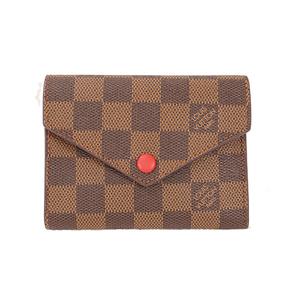 ルイ・ヴィトン(Louis Vuitton) ダミエ ポルトフォイユ ヴィクトリーヌ Portefeuille Victorine N41659 レディース ダミエキャンバス 財布(三つ折り) エベヌ,ルージュ