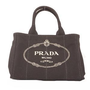 Auth Prada Canapa Handbag Women's Canvas Handbag,Tote Bag Black Gold