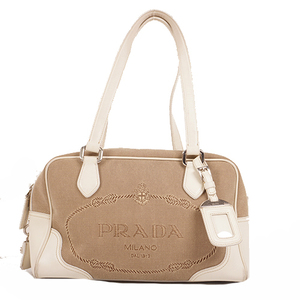 Prada Handbag Women's Canvas Boston Bag,Handbag,Shoulder Bag Beige,White