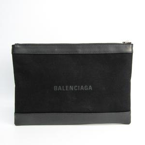 バレンシアガ(Balenciaga) ネイビークリップM 373834 ユニセックス キャンバス,レザー クラッチバッグ ブラック