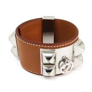 Hermes Collier De Chien 066851CK34L Barenia Leather,Metal Bracelet Brown,Silver