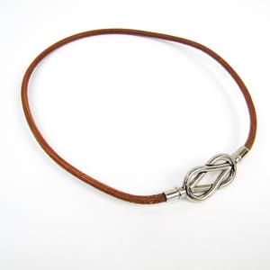 Hermes Atame Choker Barenia Leather,Metal Unisex Choker Necklace (Natural,Silver)