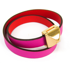 Hermes Medor Infini Double Tour H072960CDBD Metal,Swift Leather Bracelet Pink,Pink Gold,Red