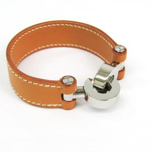 Hermes Lancelot Leather,Metal Bracelet Natural,Silver