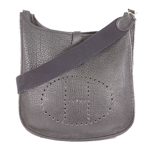 Auth Hermes EvelyneGMⅠ□EStampmark Women,Unisex,Men Leather Shoulder Bag Black