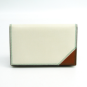 Valextra Leather Business Card Case Brown,Ivory V8L06