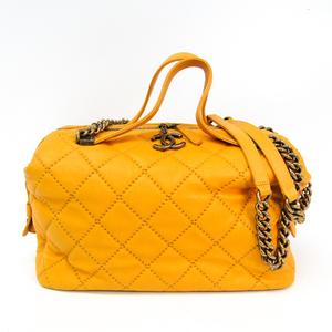 シャネル(Chanel) ワイルドステッチ レディース レザー ハンドバッグ,ショルダーバッグ イエロー