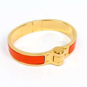 Hermes Enamel Bracelet Charniere Narrow Cloisonné/enamel Bangle Gold,Orange Gold Plated
