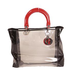 Auth Christian Dior Lady DiorWomen's Vinyl Tote Bag Black,Red