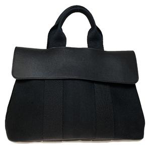Auth Hermes Valpaline PM Canvas,Leather Handbag Black