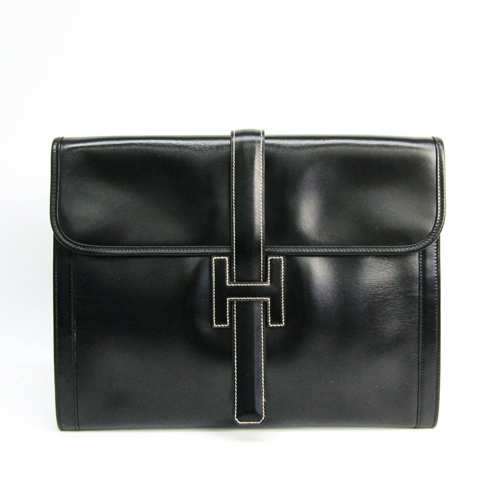 エルメス(Hermes) ジジェ ユニセックス ボックスカーフ クラッチバッグ ブラック
