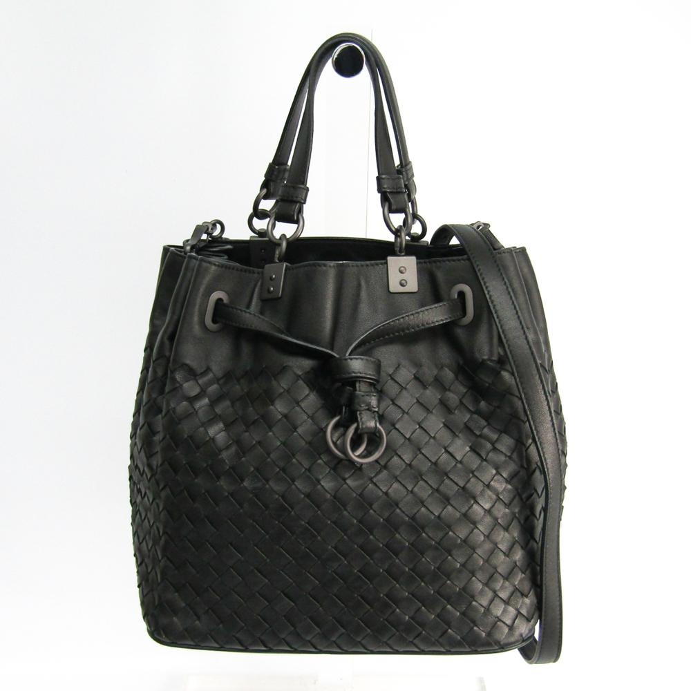 Bottega Veneta Intrecciato Women's Leather Shoulder Bag Black