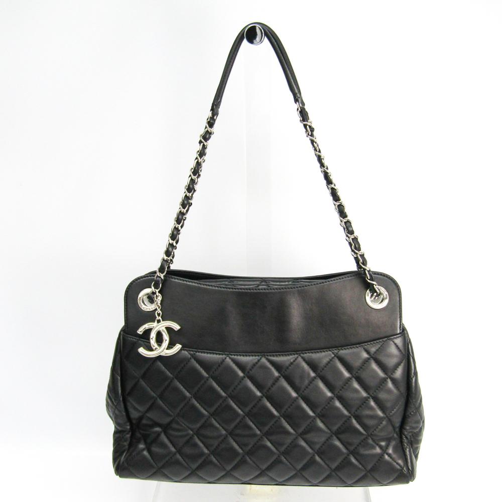 Chanel Matelasse Women's Leather Shoulder Bag Black