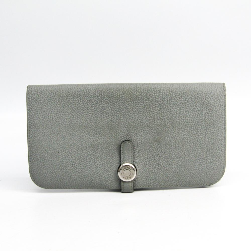 Hermes Dogon Long Taurillon Clemence Leather Long Wallet (bi-fold) Gray