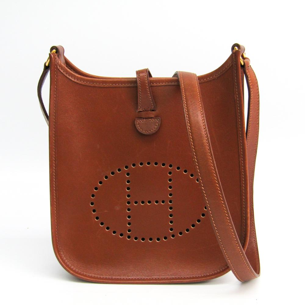 Hermes Evelyne TPM Women's Box Calf Leather Shoulder Bag Noisette