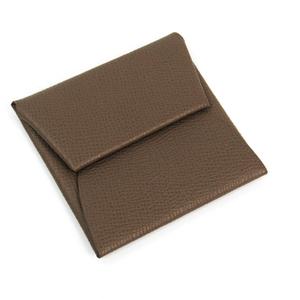 Hermes Bastia Unisex Epsom Leather Coin Purse/coin Case Etoupe Gray