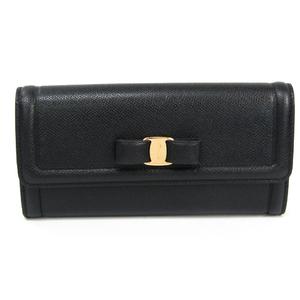 Salvatore Ferragamo Vara GJ-224633  Calfskin Long Wallet (bi-fold) Black