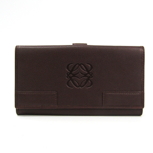 Loewe 160.64.511 Unisex  Calfskin Long Bill Wallet (tri-fold) Brown